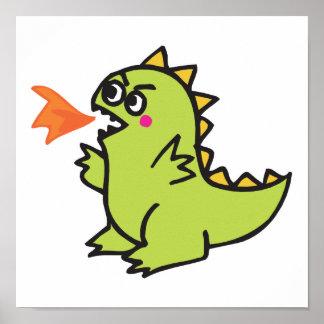 cute little green fire dragon monster poster