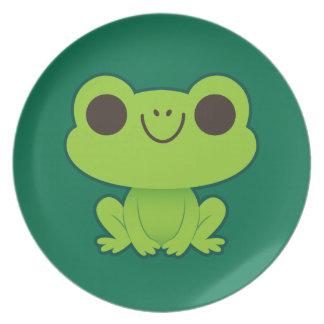 Cute Little Green Frog Dinner Plates