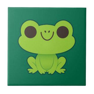 Cute Little Green Frog Tile