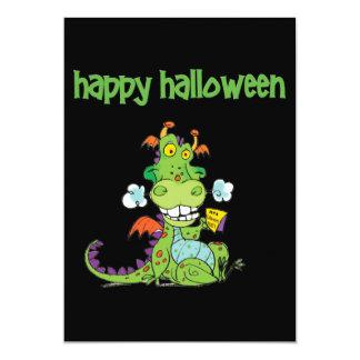Cute little Green Halloween Dragon 13 Cm X 18 Cm Invitation Card