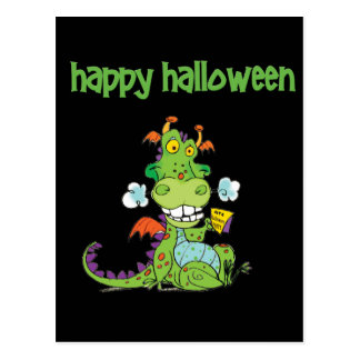 Cute little Green Halloween Dragon Postcard
