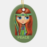 Cute Little Green Hippie Girl Peace Sign Ceramic Oval Decoration