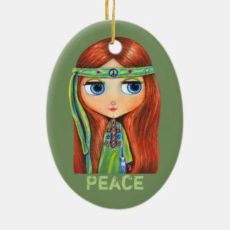 Cute Little Green Hippie Girl Peace Sign Ceramic Oval Decoration