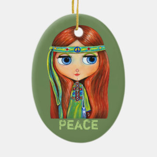 Cute Little Green Hippie Girl Peace Sign Christmas Ornament