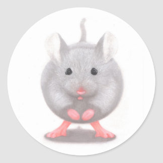 Cute Little Grey Mouse Classic Round Sticker