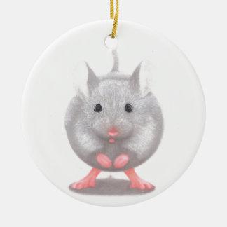 Cute Little Grey Mouse Round Ceramic Decoration