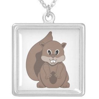Cute Little Grey Squirrel Cartoon Animal Silver Plated Necklace