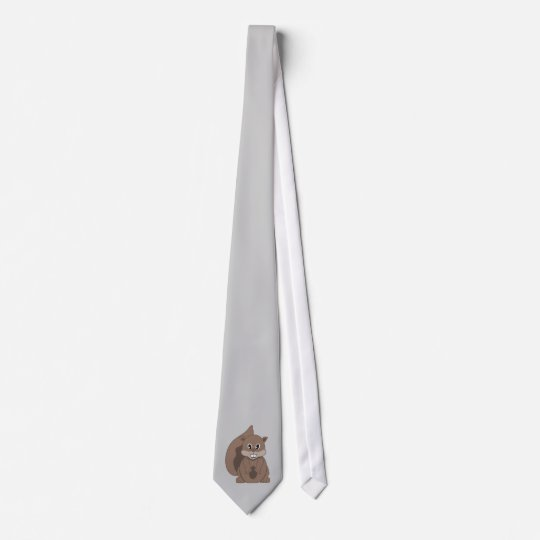 Cute Little Grey Squirrel Cartoon Animal Tie