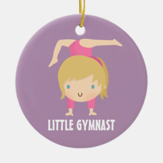 Cute Little Gymnast Blond Girl Gymnastics Custom Round Ceramic Decoration