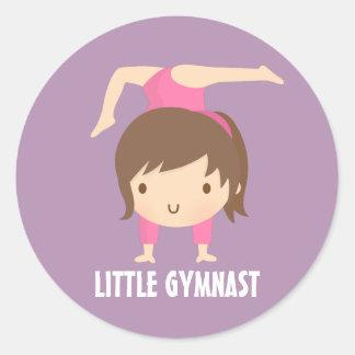 Cute Little Gymnast Girl Gymnastics Pose Classic Round Sticker