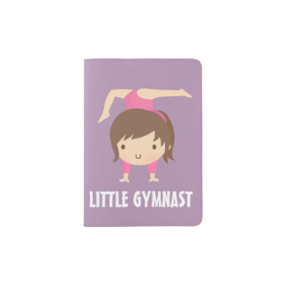 Cute Little Gymnast Girl Gymnastics Pose Passport Holder