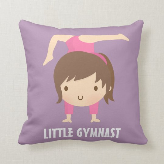 Cute Little Gymnast Girl Gymnastics Room Decor Cushion