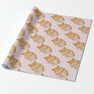 Cute little Hamster holding a flower Wrapping Paper