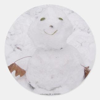 cute little happy snowman round sticker