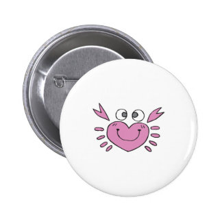 cute little heart crab 6 cm round badge