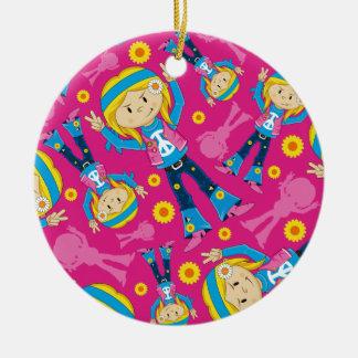 Cute Little Hippie Girl Round Ceramic Decoration