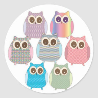Cute Little Hoot Owls Assorted Colors Classic Round Sticker