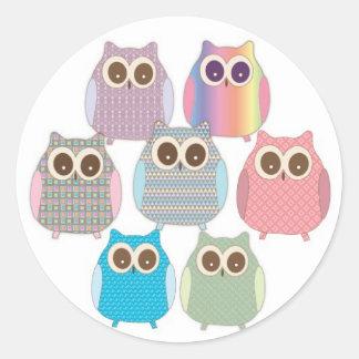 Cute Little Hoot Owls Assorted Colors Round Sticker