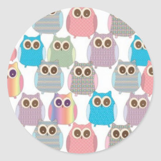 Cute Little Hoot Owls Assorted Colors Round Sticker