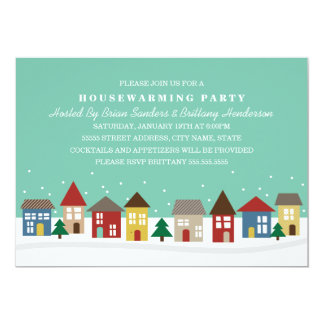 Cute Little Houses Winter Housewarming Invite