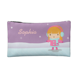 Cute Little Ice Skater Girl For Kids Makeup Bag