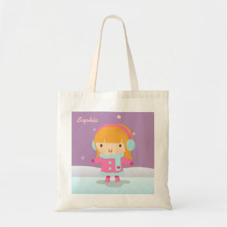 Cute Little Ice Skater Girl For Kids Tote Bag