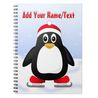 Cute Little Ice Skating Cartoon Penguin Notebooks