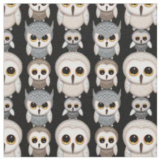 Cute Little Illustrated Owls Pattern Fabric