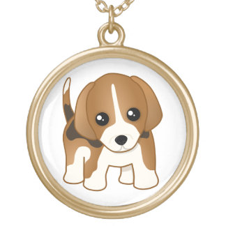 Cute Little Kawaii Beagle Puppy Dog Round Pendant Necklace