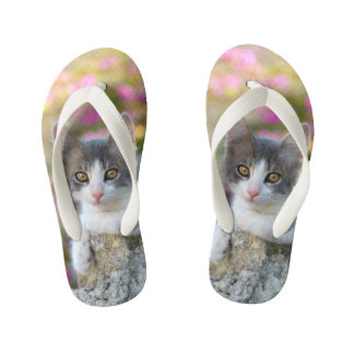 Cute Little Kitten Fluffy Photo Cat Lovers - Kids Flip Flops