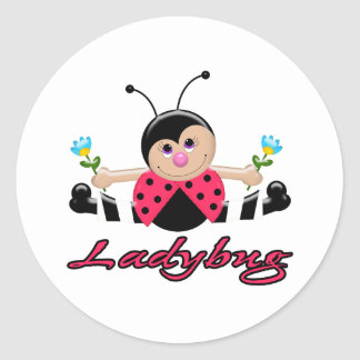 cute little lady ladybug with flowers round sticker