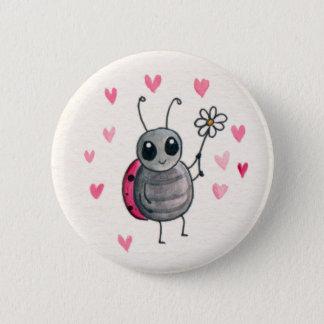 Cute Little ladybird or Ladybug with daisy 6 Cm Round Badge