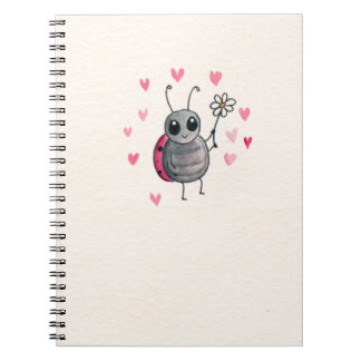 Cute Little ladybird or Ladybug with daisy Notebooks