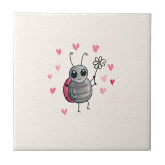 Cute Little ladybird or Ladybug with daisy Tile