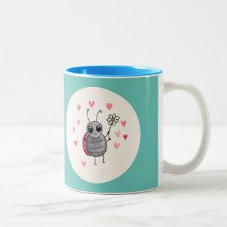Cute Little ladybird or Ladybug with daisy Two-Tone Mug