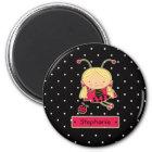Cute little ladybug girl personalised magnet