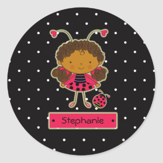Cute little ladybug girl personalized sticker