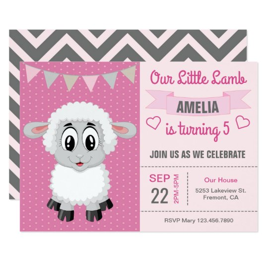Cute Little Lamb Kids Birthday Party Invitation