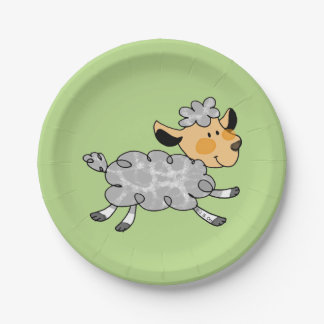 cute little lamb paper plate