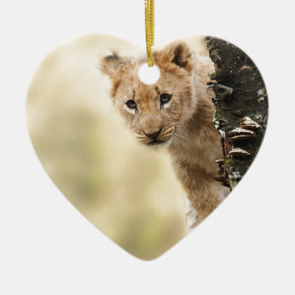 CUTE LITTLE LION CUB RANGE CERAMIC HEART DECORATION