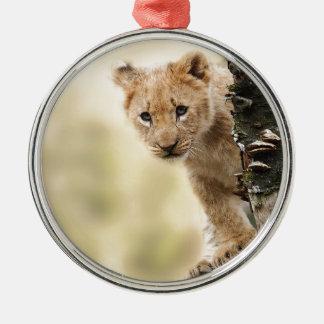CUTE LITTLE LION CUB RANGE Silver-Colored ROUND DECORATION