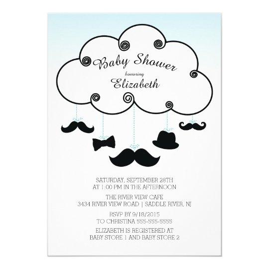 Cute Little Man Moustache Baby Shower Invitations