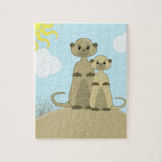 Cute Little Meerkats in a Desert Scene Cartoon Jigsaw Puzzle