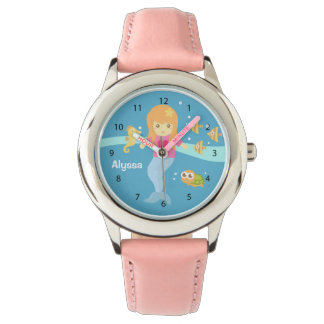 Cute Little Mermaid Girl Under the Sea Animals Watch