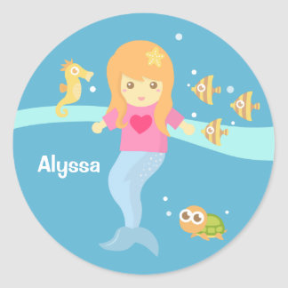 Cute Little Mermaid Girl Under the Sea Classic Round Sticker