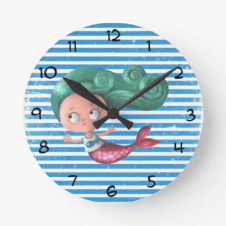 Cute Little Mermaid Round Clock