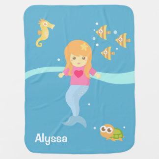 Cute Little Mermaid Sea Animals Baby Girl Baby Blanket