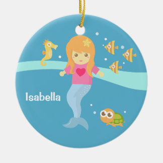 Cute Little Mermaid Sea Creatures Girls Room Christmas Ornament
