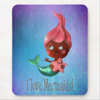 Cute Little Mermaid with Pink Hair Mouse Mat