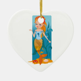 Cute little mermaid with red hair and blue eyes ceramic heart decoration